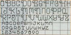 Schema punto croce: Alfabeto e numeri a punto scritto