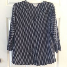 Van Heusen Blouse Women Size L 3/4 Sleeve Black And White  | eBay