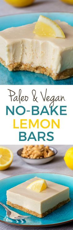 No-bake Vegan Paleo Lemon Bars with a super creamy, cashew-based vegan and no-bake topping! Full of lemon flavor and maple-sweetened.