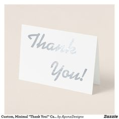 """Shop Custom, Minimal """"Thank You!"""" Card created by AponxDesigns. Thank You Greeting Cards, Thank You Greetings, Custom Thank You Cards, Appreciation Cards, Personalized Note Cards, Paper Envelopes, Colored Paper, Minimalism, Place Card Holders"""