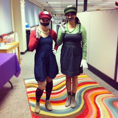 Super Mario Sisters Halloween Costumes. Cute update on an original! :: via - oh, hopscotch! #mariobrothers #mario #luigi #videogames #cosplay #halloween #costume #diy #crafty #inspiration