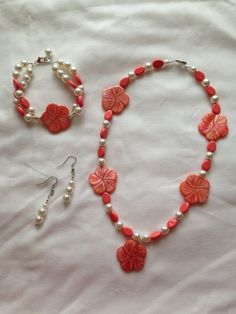Coral flower and pearl necklace set by 4BeadedLadies on Etsy, $25.00