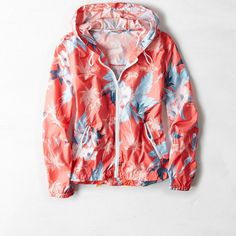 American Eagle Floral Hooded Windbreaker ($45) ❤ liked on Polyvore featuring activewear, activewear jackets, jackets, tops, american sportswear and american eagle outfitters