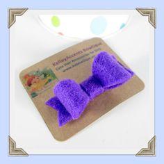Purple Felt Mini Bow Hair Clip by KABowtique on Etsy, $2.50