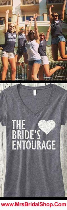 Bachelorette Party Time! BRIDE'S ENTOURAGE Silver Glitter V-neck Shirts at www.MrsBridalShop.com