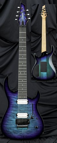 Carvin Guitars DC7XC Seven-String Extended Scale Guitar w/ Floyd Rose Tremolo Deep Aquaburst Flame with Blackburst Edges.