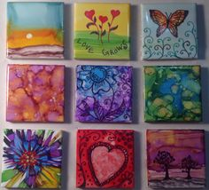 Magnets, alcohol inks, zentangle, sunrise, flowers, butterfly, hearts, trees at sunset, valentine gift for her, original artwork, abstract by APattonFineArt on Etsy