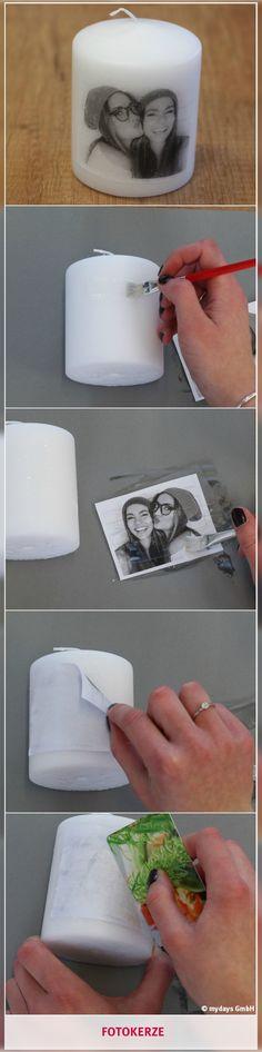 Fotokerze - Erinnerungen zum Erleuchten bringen. Mit einer DIY- Fotokerze bringst Du die schönsten Erinnerungen mit Deinem Lieblingsmenschen zum Leuchten! Eine Geschenkidee, die man so in keinem Laden findet! Was Du dafür benötigst und wie es funktioniert, erfährst Du in unserem mydays Magazin.