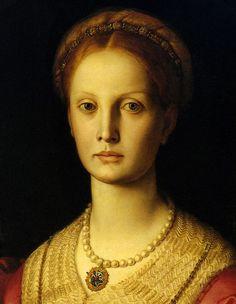 Agnolo Bronzino - Ritratto di Lucrezia Panciatichi, dettaglio - Olio su tavola - 1541 - Galleria degli Uffizi, Firenze.