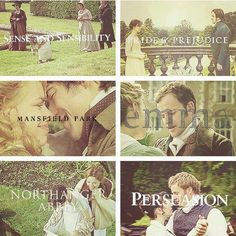 Jane Austen Books made into movies...The older Pride and Prejudice is better, but they are all lovely books and movies