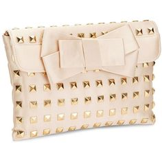FRANCHI Champagne Clutch with Gold Studs (€130) ❤ liked on Polyvore featuring bags, handbags, clutches, bolsas, purses, bolsos, champagne, bow handbag, franchi handbags e champagne clutches