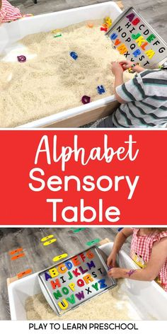 Alphabet Matching – Literacy in the Sensory Table – Ms.RobertsEducationalResources Alphabet Matching – Literacy in the Sensory Table Alphabet Matching – Sensory Play Center – Play to Learn Preschool Centers, Preschool Literacy, Preschool Classroom Layout, Toddler Classroom, Preschool Learning Activities, Kids Learning, Toddler Sensory Activities, Preschool Ideas, Summer Activities
