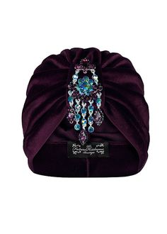 Purple Velvet Turban with Iridescent Hanging by TheFHBoutique