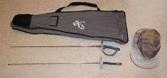 Used Fencing Equipment/Gear, 2 Swords, Bag, Helmet(FOIL and SABRE) BLUE GAUNTLET