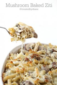 Mushrooms in a wine sauce with noodles baked with cheese is a delicious meal anytime!