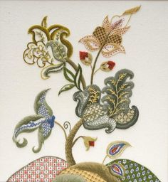Crewel Embroidery design by Judy Jeroy