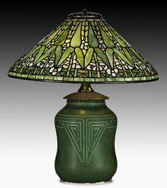 Tiffany Studios/Rookwood Arrow Root lamp, $35,000-$45,000. Price realized: $35,000. Rago Arts & Auction Center image.