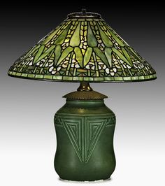 Tiffany Studios/Rookwood Arrow Root lamp, $35,000-$45,000. Price realized: $35,000. Rago Arts & Auction Center image.