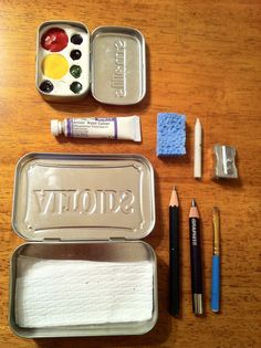 Watercolor set in nested Altoids tins