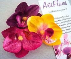 CLIP CORSAGE PINCE CHEVEUX FLEURON x3 ORCHIDEE 7cm fleurs artificielles satin