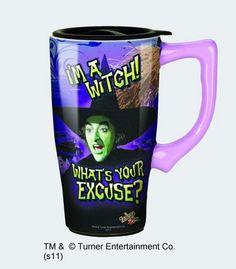 Wizard of Oz Wicked Witch Travel Mug with Handle Spoontiques Wizard of Oz Travel Mugs Land Of Oz, Cool Mugs, Wicked Witch, Coffee Travel, Travel Mugs, Wizard Of Oz, Coffee Cups, Coffee Coffee, Morning Coffee