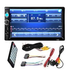 """7 """"인치 LCD 2 DIN HD 자동차 라디오 MP5 플레이어 대시 터치 스크린 블루투스 HD 후방 카메라 자동차 스테레오 FM + 무선 원격"""