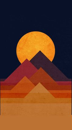 The pyramids, in real life, are three dimensional. This piece presents two dimensional, geometric shapes that combine together to make the appearance of the pyramids and the sunset behind them. Inspiration Art, Art Inspo, Art Encadrée, Pop Art, Typographie Inspiration, Art Design, Club Design, Moon Design, Oeuvre D'art