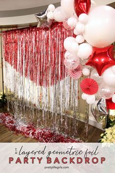 This DIY foil photo backdrop can serve as the focal point of your decor and add a ton of visual interest! Streamer Backdrop, Backdrop Decorations, Diy Party Decorations, Mylar Balloons, Latex Balloons, I Spy Diy, Creative Party Ideas, Party Supply Store, Birthday Backdrop