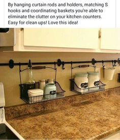 By hanging curtain rods and holders, you're able to eliminate the clutter on your kitchen counter. Easy clean ups! kitchen storage ideas, kitchen organizing ideas, DIY home decor ideas Home Organization, Small Spaces, Home Improvement, Kitchen Decor, Small Kitchen Organization, New Homes, Apartment Decor, Home Kitchens, Kitchen Organization