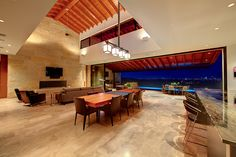 Contemporary Great Room - Find more amazing designs on Zillow Digs! Modern Rustic, All Modern, Fleetwood Windows, Slider Door, Stone Gallery, Color Tile, Living Room Lighting, Floor Design, Contemporary Interior