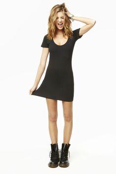 Black cotton dress, Dr martens