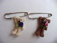 Crochet teddy bear brooch