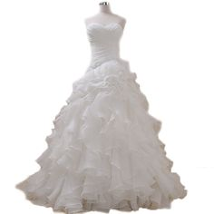 Sweetheart Organza Wedding Dresses, White Wedding Gowns With Rich Ruffles ,Bridal Dresses,Floor Length Bridal Gown,Wedding Bride Dresses ,Ball Gowns