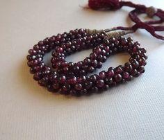 Victorian Garnet Necklace Asian Gourd Stitch by STLvintage on Etsy, $199.00
