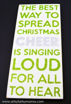 Christmas Cheer Subway style Sign at artsyfartsymama.com #christmas #MSHoliday - fun holiday DIY using Martha Stewart Crafts - click thru for the full tutorial