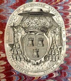 """Chateauneuf de Rochebonne, Charles-François de, 1671-1740. Evêque de Noyon, nommé le 24 décembre 1707. Archevêque de Lyon du 26 juillet 1731 au 19 novembre 1731. -- """"de gueules à trois tours donjonnées chacune de trois tourelles d'or ajourées et maçonnées de sable""""."""
