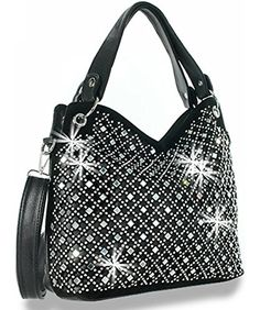 Zzfab Mirror Rhinestone Bling Purse Black *** Click on the image for additional details.Note:It is affiliate link to Amazon.