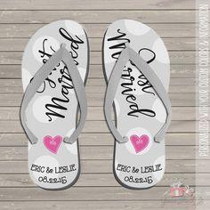 50c921ec3c4 Wedding flip flops - personalized just married wedding flip flops