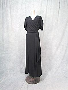 Vintage 1940s Womens Formal Dress Black Hollywood Xplus