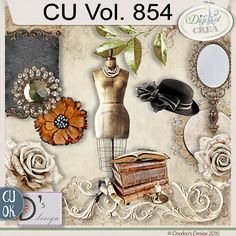 CU Vol. 854 {Vintage/Victorian}by Doudou's Design Description:  This set contents 12 elements created and/or photographed and/or extracted by myself.  Shadows only on preview