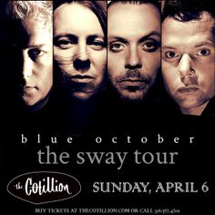 """BLUE OCTOBER APRIL 6 DOORS 7P $25 ADV $29 DOS THIS EVENT IS ALL AGES All seating is ga. Nancy's Amazing Sandwiches will be here serving her Famous #8 and more! """"'Sway' is an empowering record. It's a record that I always wanted to make but didn't know how"""" Blue October's Justin Furstenfeld BLUE OCTOBER, the San Marcos, TX-based band known for shimmering rock songs & haunting lyrics on albums such as 2009's Billboard Top 15 debut, Approaching Normal, 2011's Billboard Top 10 debut"""