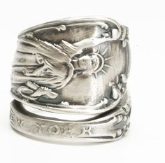 Statue of Liberty Ring, Sterling Silver Spoon Ring, Souvenir Spoon, NYC Jewelry, Lady Liberty, Eco Friendly Jewelry, Adjustable Ring (6032) by Spoonier on Etsy
