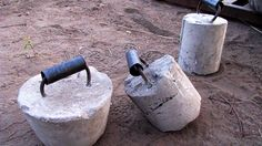 Bucketbells! Find a mould, find a handle, pour some cement and you're done. Source: T-Nation
