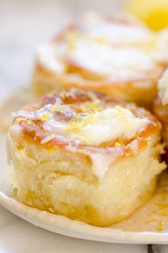 Sticky Lemon Rolls with Lemon Cream Cheese Glaze. The post Sticky Lemon Rolls with Lemon Cream Cheese Glaze appeared first on Fun Healthy Recipes . Lemon Desserts, Lemon Recipes, Just Desserts, Sweet Recipes, Dessert Recipes, Brunch Recipes, Breakfast Recipes, Cake Recipes, Health Desserts