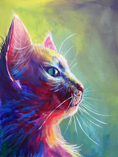 this is a oil pastel drawing of a cat. this looks very 3D but not realistic because of the colours.in my opinion this is a good drawing and really blends the colours together well.