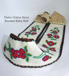 Beaded Baby Belt hand made by Elder Melanie Weyallon, Tlicho Elder from Behchoko, NT. For $500 now online at http://onlinestore.tlicho.ca/