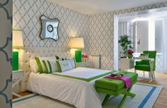 geometric bedroom in white, blue, green