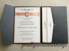 WEDDING INVITATIONS DIY POCKET CARDS ENVELOPES BLACK METALLIC FOLDER INVITES | eBay