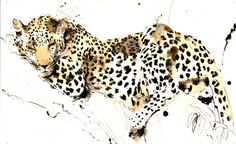 """Watercolor and Ink - love this artist's work! Saatchi Online Artist: Lucy Newton; Paint, Mixed Media """"Sleeping Leopard"""""""