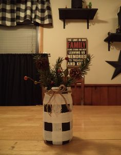 Buffalo Check Mason Jar...ball mason jar, black and white paint, accessories for Christmas. ~ Holidays, Plaid, Country, Primitive,  Farmhouse, Rustic, Crafts, DIY, Nailed It
